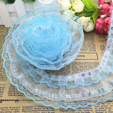 Hot 5 Yards 4-layer 50mm Sky Blue Pleated Trim Mesh Lace Sewing Sequin Gathered