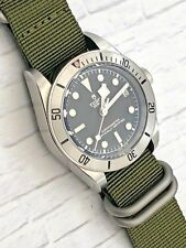 RADIATION Army GREEN ZULU Nylon watch band strap 22mm Brushed Stainless Military