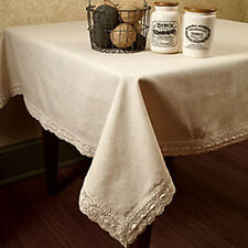 """Shabby French Country Chic 90"""" Beige White LINEN LACE TABLECLOTH Table Cloth"""