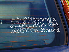 Static Cling Window Car Sign/Decal Mummys Little Girl Ted 100mm x 250mm 25