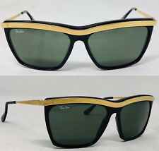 Vintage Ray Ban Sunglasses Black & Gold USA Olympian III W0741 G15 Lenses