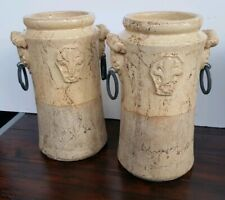 Pair Of Stone Decorative Vases/Planters Iron Ring Handles