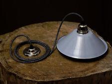 Blue vintage Light shade pendant - Chrome ceiling rose & bulb free UK P&P