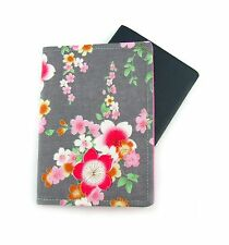 Pink Flower on Grey Passport Cover, Passport Holder, Passport Wallet