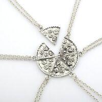 6Pcs New Retro Silver Necklace Pendant Chain Sister Friendship Love Women's Gift