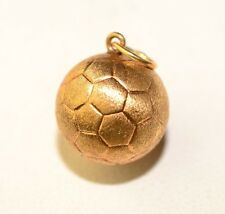 14K Yellow Gold 3-D 12.1 Mm Soccer Ball Charm Brushed Gold With Engraved Details