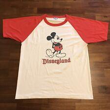 New listing Vtg Mickey Mouse Disneyland Shirt White Red Raglan T-Shirt Baseball 50/50 Xl 80s