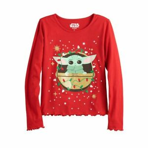 NWT Girl's Baby Yoda Shirt The Child Mandalorian Christmas Holiday Sz S M L XL