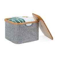 Aufbewahrungskorb Stoff, Aufbewahrungsbox mit Deckel, Regalkorb grau, Stoffbox