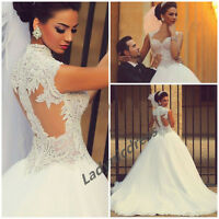 Luxury Beaded Pearls A Line Wedding Dress Zipper White/Ivory Custom Bridal Gown