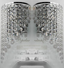 Pair of Modern Chrome Crystal Chandelier Wedding Pendant Wall Light Fixture Lamp