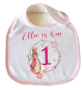 Personalised Flopsy Bunny ~ Baby bib 1st birthday pink Peter rabbit girl gift