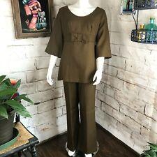 Vintage 60s Womens Mocha Brown M/L Linen Bell Bottom Flared Top Pants Suit Mod