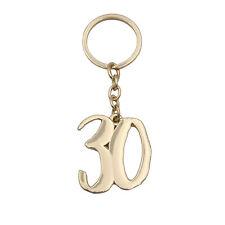 Signography Gold Metal Birthday Number Keyring - 30th Birthday