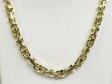 """14k Solid Yellow Gold Anchor Mariner Bullet Link chain necklace 7 MM 100 grm 24"""""""