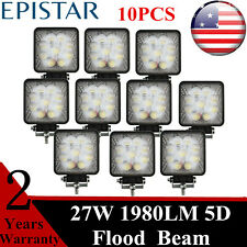 10X 27W LED Work Lights 5D Flood 6000K Beam Lamp Wrangler Tacoma Bumper Roof GMC