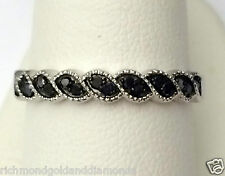 Nature Leaf Style Ladies White Gold Black Diamonds Ring Wedding Anniversary Band