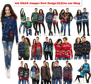 NEW Unisex Men Women Xmas Christmas jumper Novelty Fairisle Retro Jumper Sweater