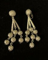 Vtg Trifari Silver Tone Dangle Earrings