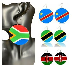 East and South Africa Hand Painted Flags  Wooden Dangle Earrings
