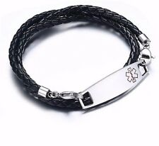 Men Man Medical Alert ID PU Leather Stainless Steel Bracelet Free Engraving Gift