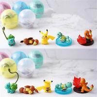 5pcs/set Pokemon Teacup Figures Pikachu Eevee Charmander Squirtle PVC Toy Gift