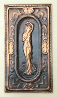 Beautiful Nude Girl repousse hammered bas relief plaque Copper Embossed Vintage