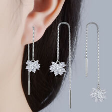 925 Sterling Silver Zircon Ice Flower Tassel Chain Dangle Earrings Jewelry Gift
