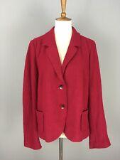 J. Jill Red Boiled Wool Two Button Blazer Jacket Sz L Pockets Textured Warm