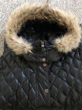 Andrew Marc New York Womens Black Down Puffer Jacket w/ Real Fur Hood Sz. L NICE