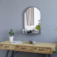 "24"" High Bronze Silver Oval Bathroom Vintage Wrought Iron Wall Mirror W/ Storage"