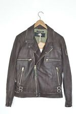 **AWESOME SAUCE** BRAND NEW! REPLAY Mens Leather Biker Jacket Medium moto B