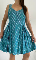 MODCLOTH Blue White Polka Dot Print Fit & Flare Dress 1X Plus Size AU 18 Retro