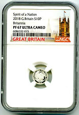 2018 GREAT BRITAIN 10 PENCE FRACTIONAL SILVER PROOF BRITANNIA NGC PF67 UCAM RARE