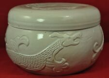 Oriental dragon design box or lidded bowl with Celadon style glazing, large