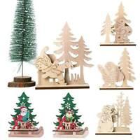 Merry Christmas Wooden Elk Santa Claus Xmas Home Pendant Table Decor Ornament