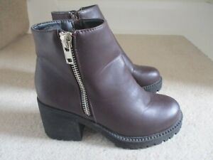 NEW LOOK LADIES MAROON ANKLE BOOTS SIZE 4 ( 37 )