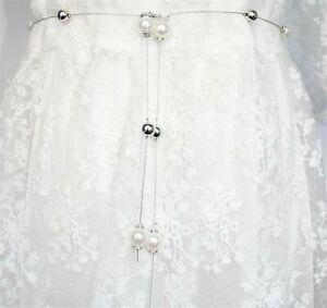 Women Lady Girls Pearl Slim Party Metallic Silver Chain Beads Dress Tassel Belt