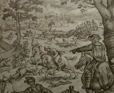 STUNNING 18TH CENTURY OLD MASTER ITALIAN ANTIQUE INK DRAWING BOAR HUNTING SCENE.