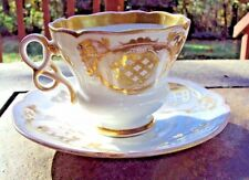 Antique C.Tielsch eagle Mark German Cup with unique shaped handle and Saucer