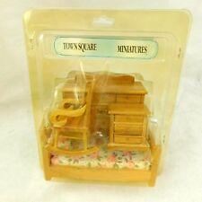 Townsquare Miniatures Bedroom Set 305 Dollhouse Wooden Dresser Rocking Chair