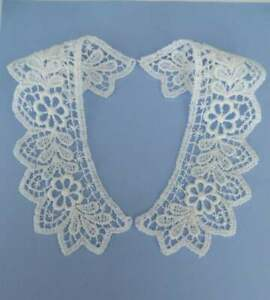 Top quality guipure lace collars 1 pair white matt cotton