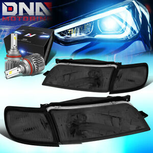 FOR 1997-1999 NISSAN MAXIMA OE STYLE HEADLIGHT LAMPS W/LED KIT SLIM STYLE SMOKED