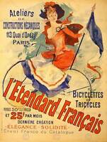 BICYCLE TRICYCLE PARIS FRANCE FRENCH.tif VINTAGE ART ADVERTISING POSTER 1475PY