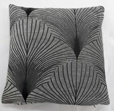 DESIGNER STYLE GREY AND BLACK CHENILLE CUSHION COVERS UK MADE 17'X17