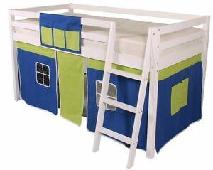 Mid Sleeper Children's Bed Cabin Bed Loft Bunk Bed Wooden White Blue green