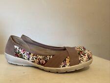 Ladies Hotter Natasha Slip On Ballerina Shoes UK 8 EU 42 Tan & Floral