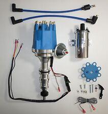 FORD FE 352-360-390-427-428 BLUE Small Cap HEI Distributor +Chrome 45K Volt Coil