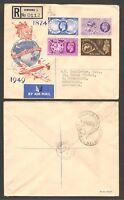 Great Britain 1949 UPU Registered FDC