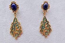 Heritage Museum Replica Silver, Blue Lapis, Green Enamel Earrings